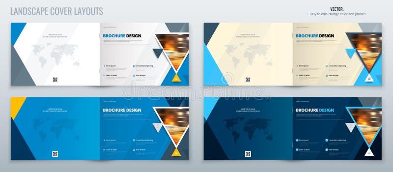 Μπλε σχεδιάγραμμα προτύπων φυλλάδιων τοπίων, ετήσια έκθεση σχεδίου κάλυψης, περιοδικό, ιπτάμενο ή φυλλάδιο σε A4 με το τρίγωνο διανυσματική απεικόνιση
