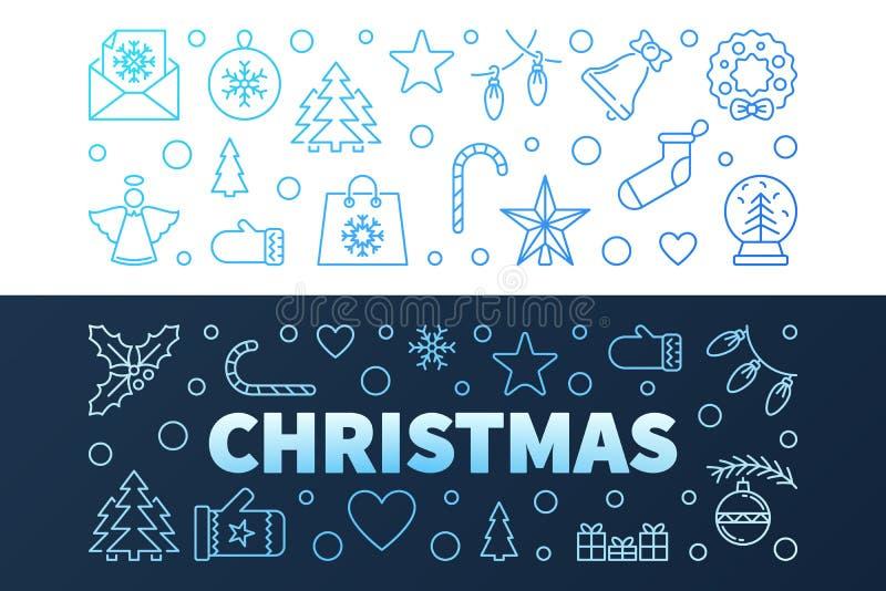 Μπλε σύγχρονα διανυσματικά εμβλήματα Χριστουγέννων στο ύφος περιλήψεων διανυσματική απεικόνιση