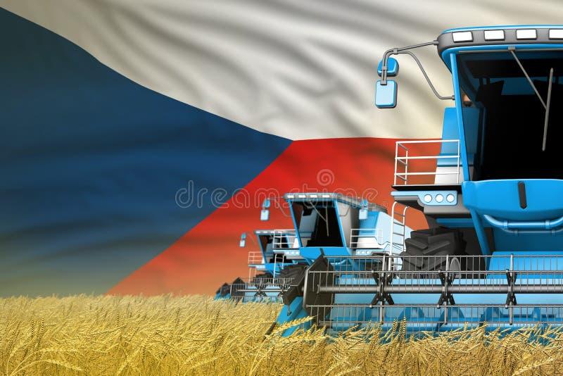 3 μπλε σύγχρονος συνδυάζει τις θεριστικές μηχανές με τη σημαία Czechia στον τομέα σιταριού - στενή άποψη, που καλλιεργεί την έννο ελεύθερη απεικόνιση δικαιώματος