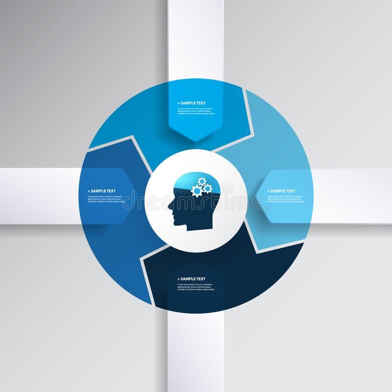 Μπλε σύγχρονο σχέδιο Infographics ύφους με την έννοια AI - πρότυπο διαγραμμάτων με τις μορφές βελών διανυσματική απεικόνιση