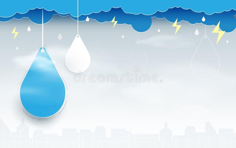 Μπλε σύννεφα με τις πτώσεις βροχής στο υπόβαθρο σκηνής πόλεων διανυσματική απεικόνιση