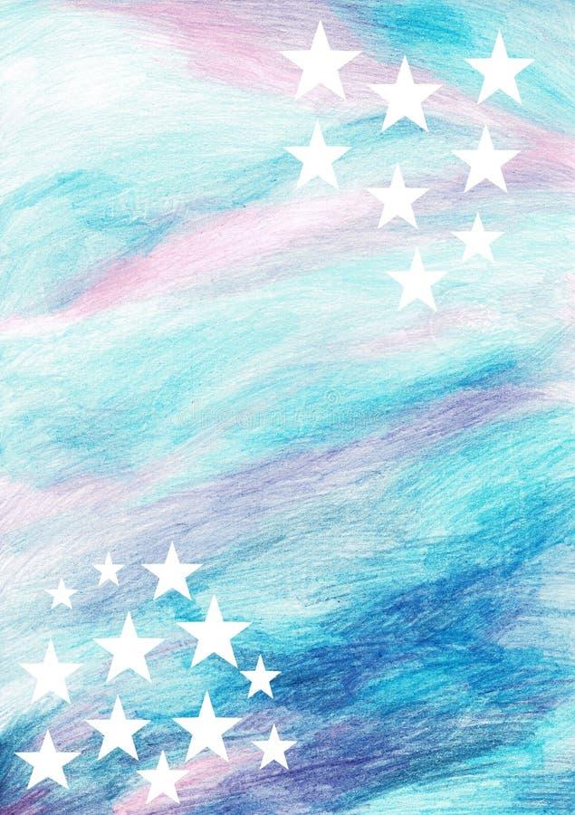 Μπλε σύννεφα σύστασης υποβάθρου Μπλε λευκό υποβάθρου Watercolor - μαλακή σύσταση μελανιού κρητιδογραφιών splatter απεικόνιση αποθεμάτων