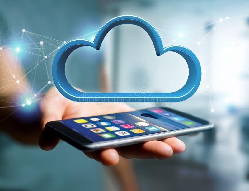 Μπλε σύννεφο που επιδεικνύεται σε μια φουτουριστική διεπαφή - τρισδιάστατη απόδοση στοκ φωτογραφία