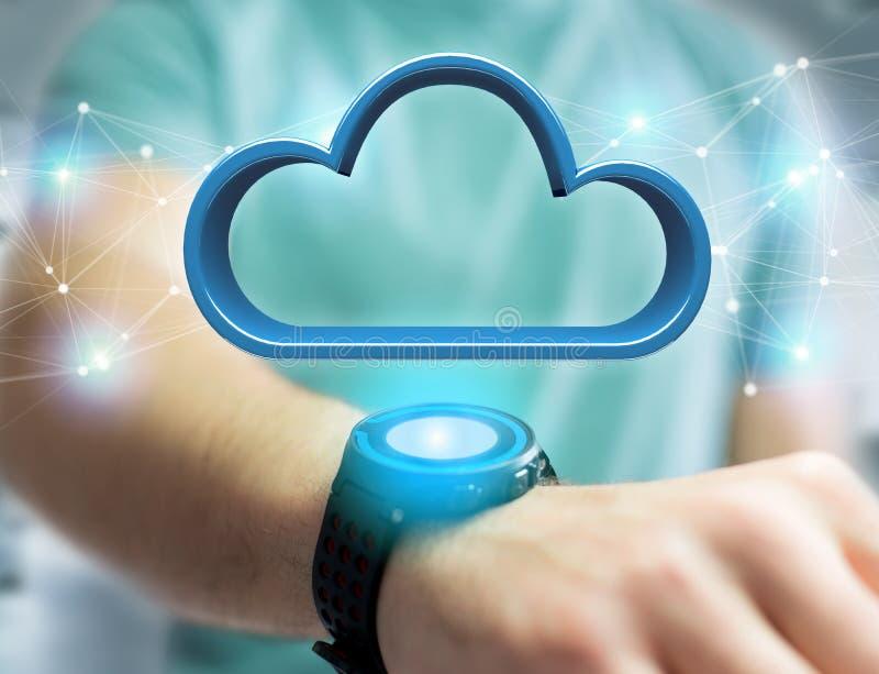 Μπλε σύννεφο που επιδεικνύεται σε μια φουτουριστική διεπαφή - τρισδιάστατη απόδοση στοκ φωτογραφία με δικαίωμα ελεύθερης χρήσης