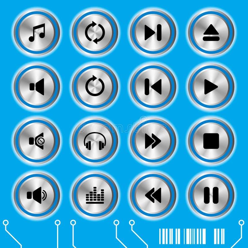 μπλε σύνολο μουσικής ε&iot απεικόνιση αποθεμάτων