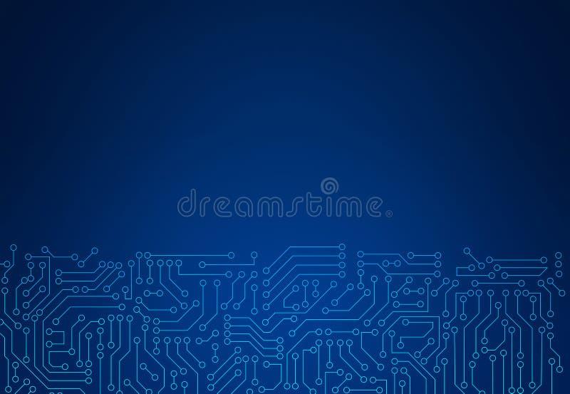 Μπλε σύσταση σχεδίων πινάκων κυκλωμάτων Υπόβαθρο υψηλής τεχνολογίας στο digi διανυσματική απεικόνιση