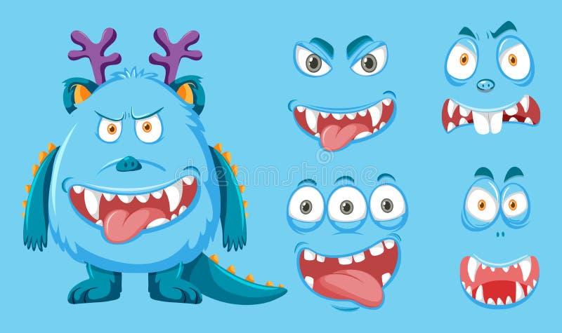 Μπλε τέρας με τη διαφορετική έκφραση του προσώπου διανυσματική απεικόνιση
