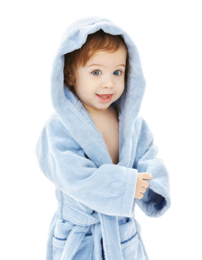 μπλε τήβεννος αγοριών μωρών στοκ εικόνες