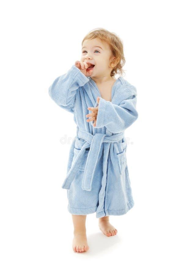 μπλε τήβεννος αγοριών μωρών στοκ εικόνα