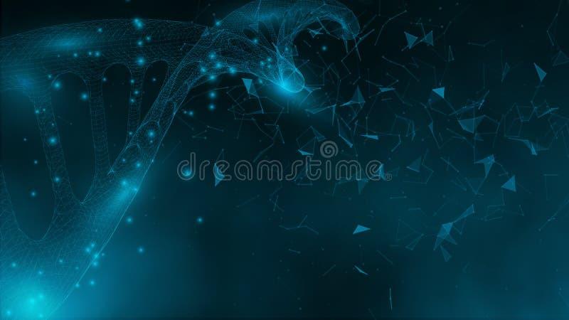 Μπλε ταπετσαρία ή έμβλημα με τα μόρια ενός DNA των πολυγώνων διανυσματική απεικόνιση