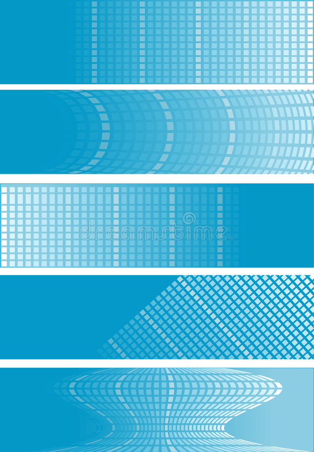 μπλε τετράγωνο 5 εμβλημάτων διανυσματική απεικόνιση