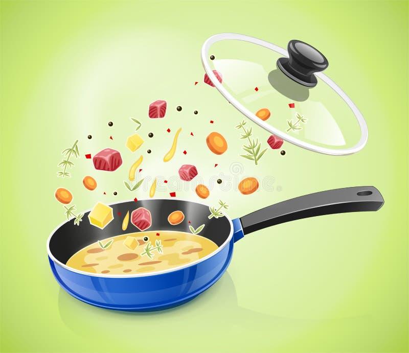 Μπλε τηγάνι με το καπάκι Επιτραπέζιο σκεύος κουζινών μαγειρεύοντας τρόφιμα απεικόνιση αποθεμάτων