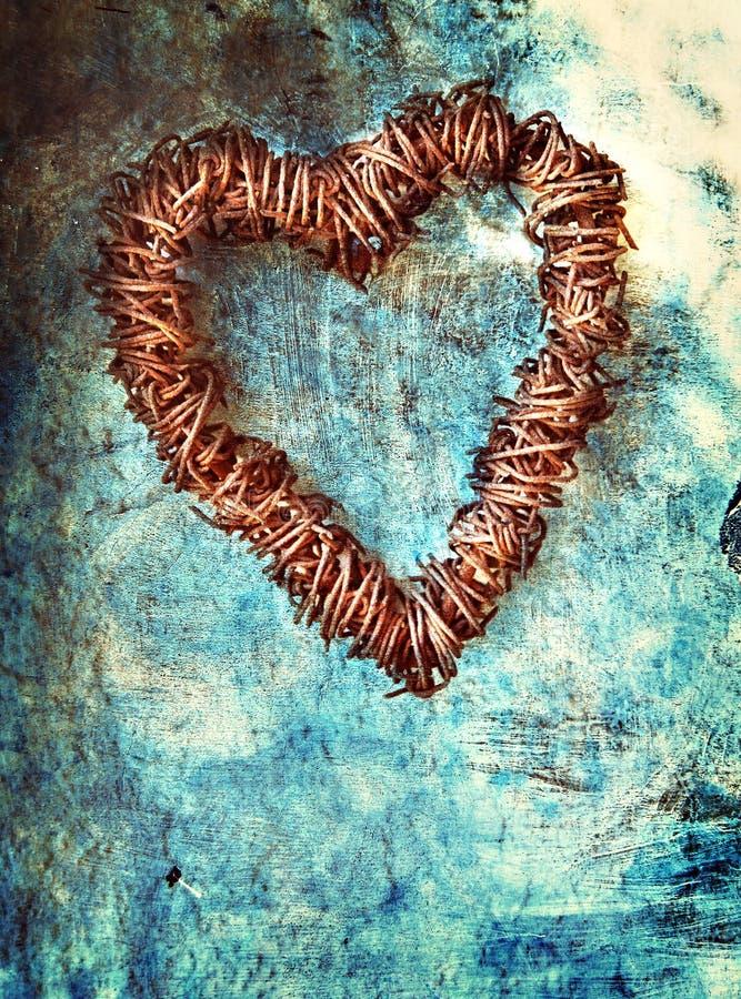 μπλε τοίχος καρδιών grunge στοκ εικόνα