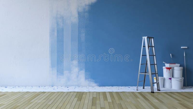 Μπλε τοίχων ζωγραφικής σε ένα κενό δωμάτιο απεικόνιση αποθεμάτων