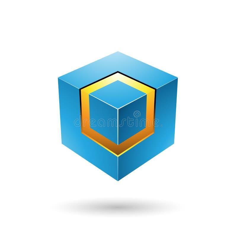 Μπλε τολμηρός κύβος με την καμμένος διανυσματική απεικόνιση πυρήνων ελεύθερη απεικόνιση δικαιώματος