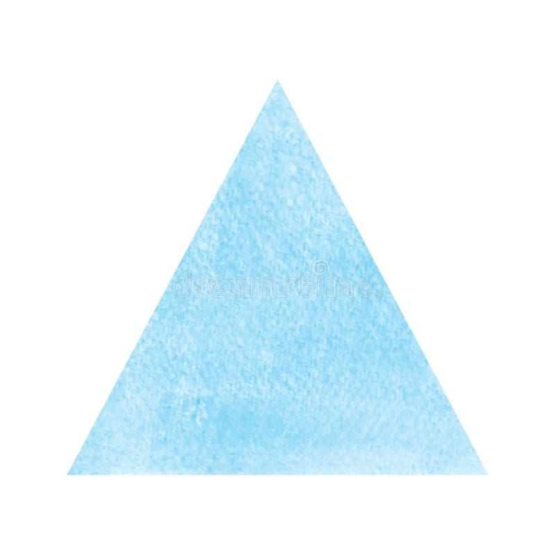 Μπλε τρίγωνο watercolor στο άσπρο υπόβαθρο ελεύθερη απεικόνιση δικαιώματος