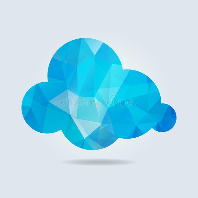 μπλε τριγωνικό σύννεφο χαρτιού σε γκρι φόντο Απεικόνιση διανύσματος απεικόνιση αποθεμάτων