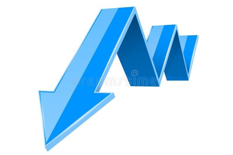 Μπλε τρισδιάστατο κάτω βέλος Οικονομική γραφική παράσταση ελεύθερη απεικόνιση δικαιώματος