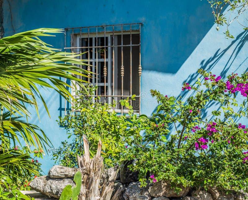 Μπλε τροπικό σπίτι με μια μικρή εκλεκτής ποιότητας κινηματογράφηση σε πρώτο πλάνο παραθύρων στοκ εικόνα με δικαίωμα ελεύθερης χρήσης