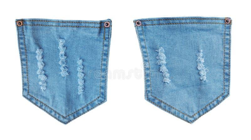 Μπλε τσέπες Jean τζιν με σχισμένος σχισμένος στοκ εικόνα