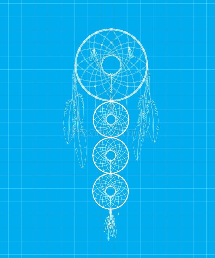 Μπλε τυπωμένη ύλη Dreamcatcher απεικόνιση αποθεμάτων