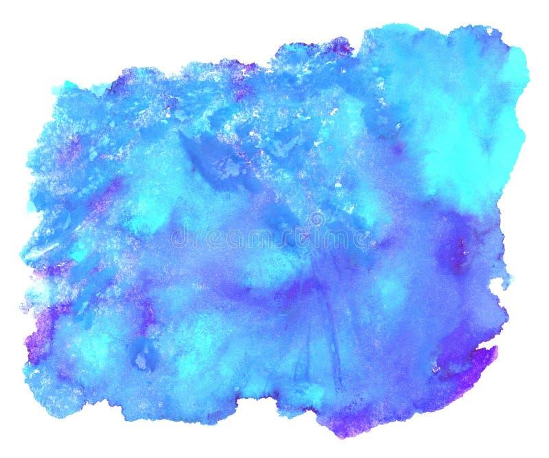 Μπλε τυρκουάζ πορφύρα σύστασης Watercolor ελεύθερη απεικόνιση δικαιώματος