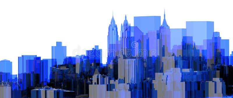 Μπλε των ακτίνων X διαφανής πόλεων απεικόνιση αποθεμάτων