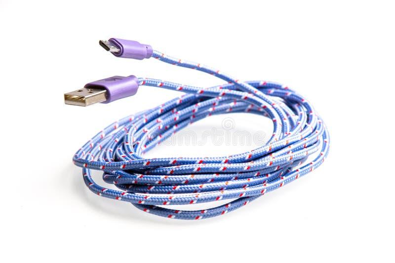Μπλε τόξο καλωδίων USB για τη συσκευασία και τη διακόσμηση στοκ εικόνες με δικαίωμα ελεύθερης χρήσης