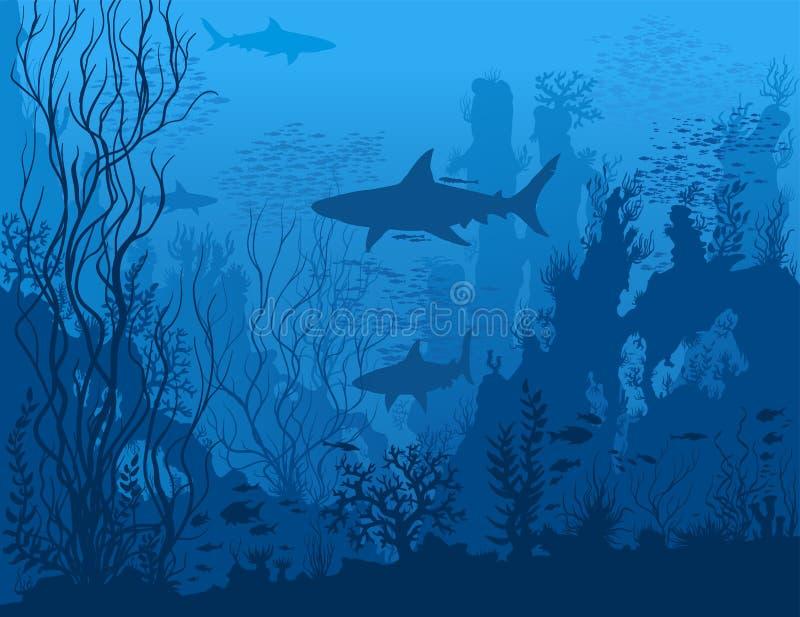 Μπλε υποβρύχιο τοπίο διανυσματική απεικόνιση