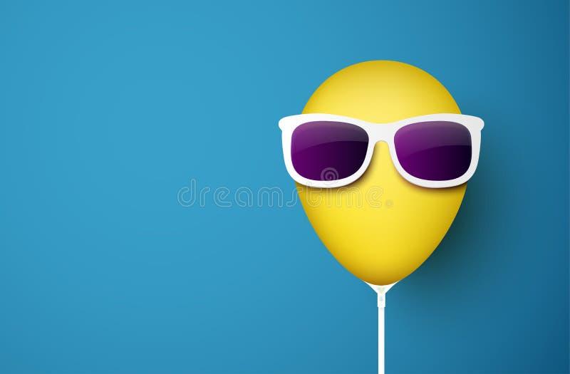 Μπλε υπόβαθρο με το κίτρινο μπαλόνι στα γυαλιά ηλίου διανυσματική απεικόνιση