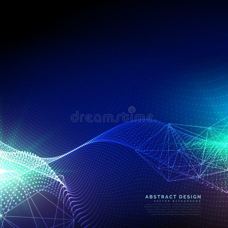 Μπλε υπόβαθρο τεχνολογίας με κυματιστό να επιπλεύσει μορίων ελεύθερη απεικόνιση δικαιώματος