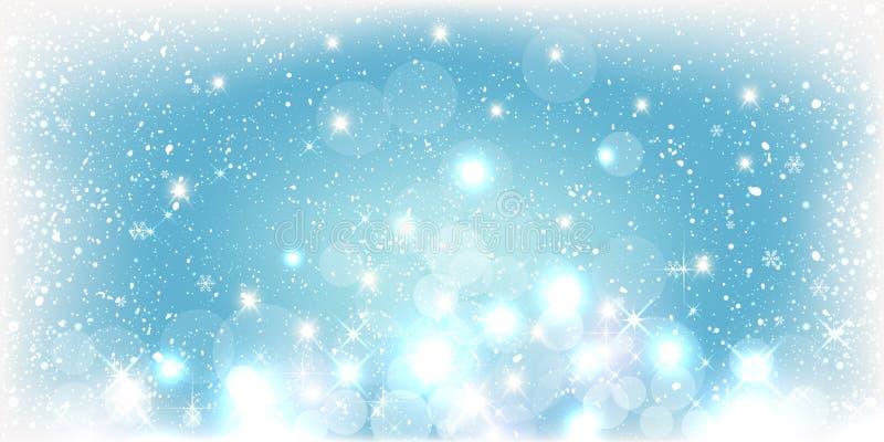 Μπλε υπόβαθρο χειμερινών Χριστουγέννων με το τοπίο, snowflakes, φως, αστέρια διανυσματική απεικόνιση