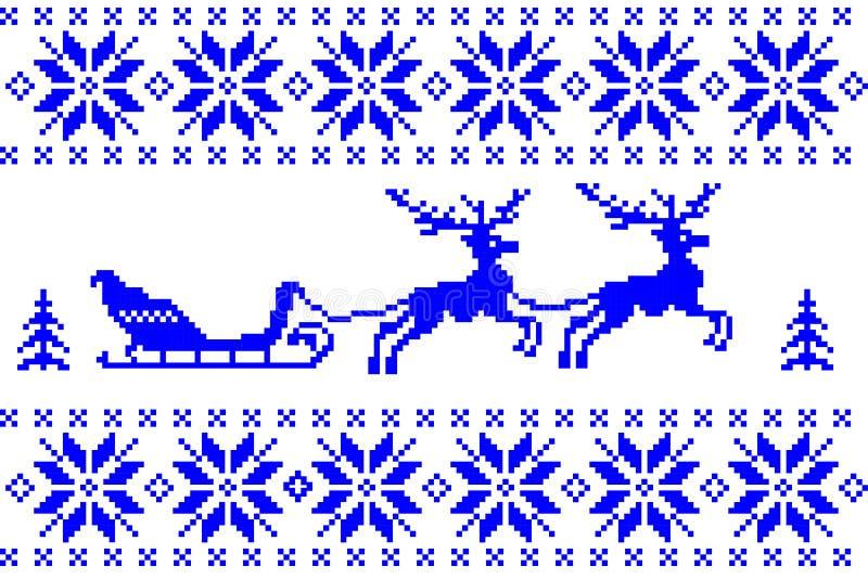 Μπλε υπόβαθρο χειμερινών Χριστουγέννων στο νορβηγικό ύφος Εορταστική νέα απεικόνιση χαιρετισμού έτους διανυσματική απεικόνιση