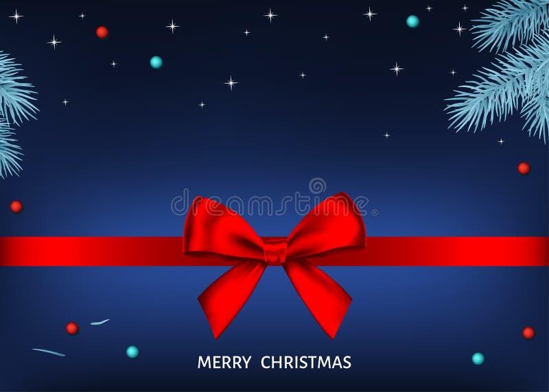 Μπλε υπόβαθρο Χριστουγέννων με το κόκκινο τόξο δώρων, κορδέλλα, ασημένιο FI διανυσματική απεικόνιση