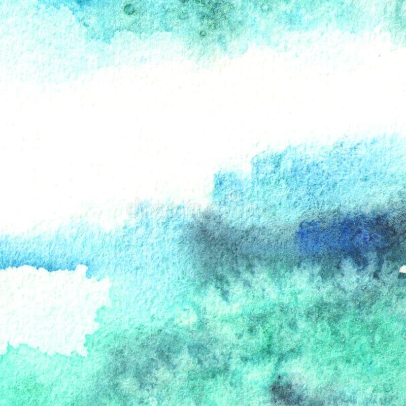 Μπλε υπόβαθρο watercolor για το σχέδιό σας Συρμένη χέρι σύσταση στοκ εικόνα