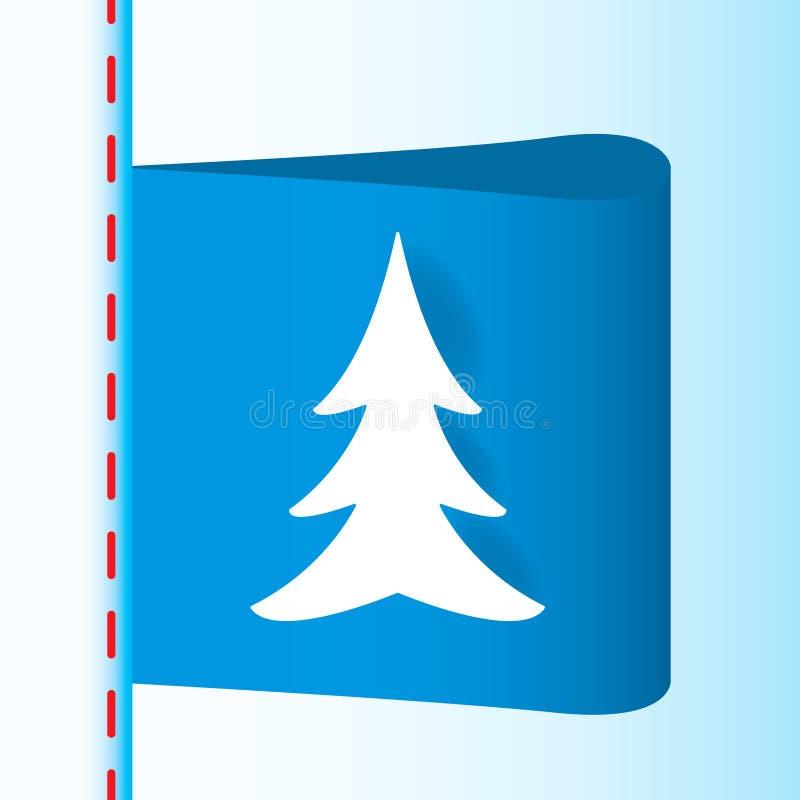Μπλε υφαντική ετικέτα με το χριστουγεννιάτικο δέντρο στοκ εικόνες