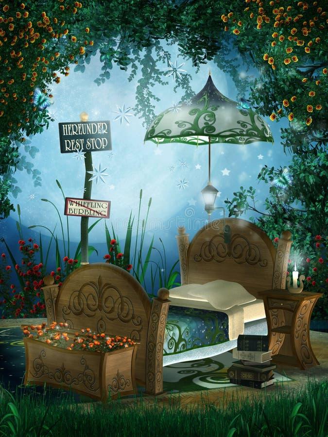 μπλε φαντασία κρεβατοκάμ διανυσματική απεικόνιση
