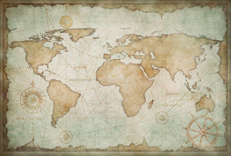 Μπλε φορεμένη εκλεκτής ποιότητας απεικόνιση παγκόσμιων χαρτών στοκ φωτογραφία