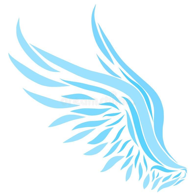 Μπλε φτερά που χρωματίζονται με τις ομαλές γραμμές ελεύθερη απεικόνιση δικαιώματος
