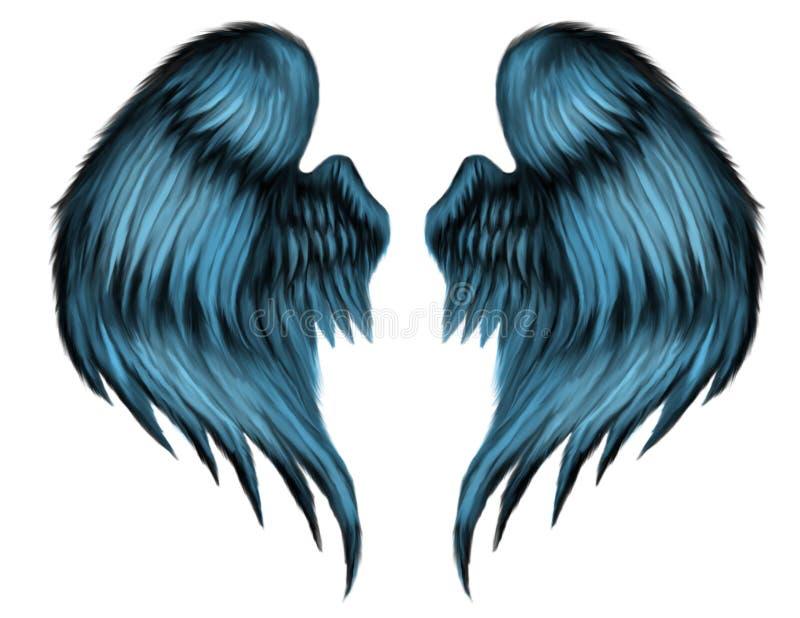 μπλε φτερά φτερών διανυσματική απεικόνιση