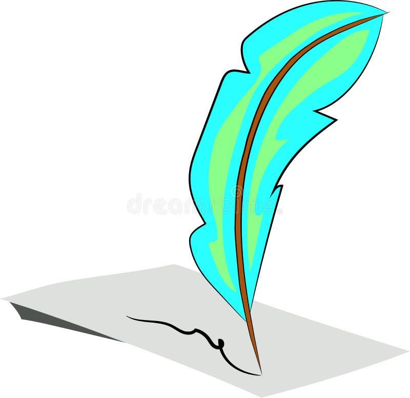 Μπλε φτερό πουλιών εναντίον του εγγράφου διανυσματική απεικόνιση