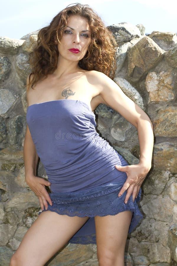 μπλε φόρεμα στοκ φωτογραφία