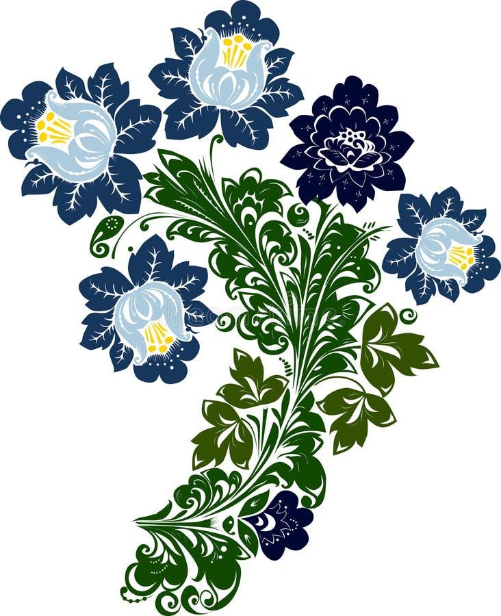 μπλε φύλλωμα λουλουδ&iot ελεύθερη απεικόνιση δικαιώματος