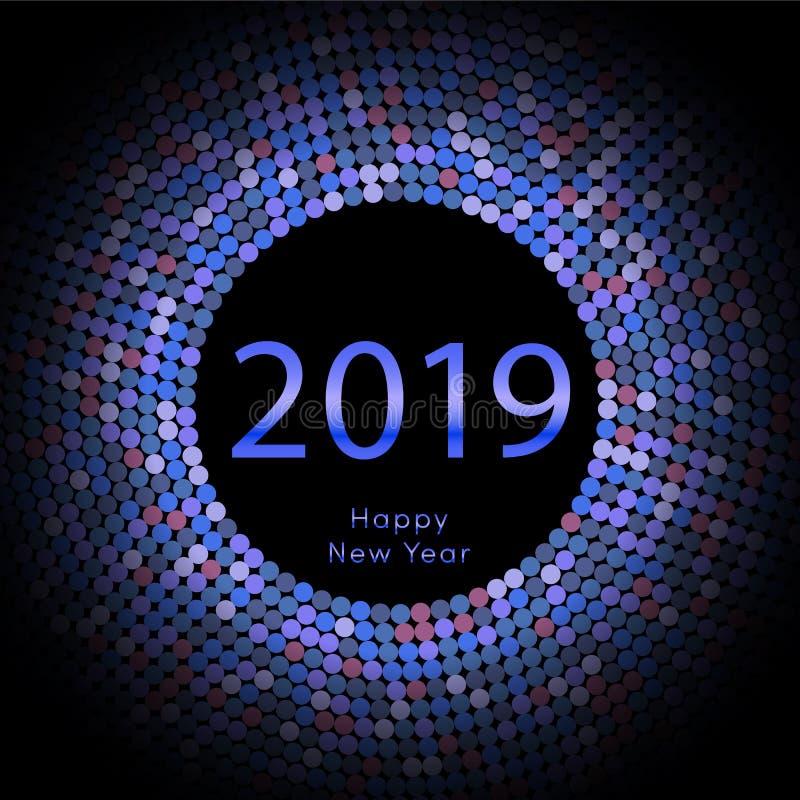 Μπλε χαιρετώντας αφίσα έτους 2019 discoball νέα Δίσκος κύκλων καλής χρονιάς με το μόριο Ακτινοβολήστε γκρίζο σχέδιο σημείων διάνυ διανυσματική απεικόνιση