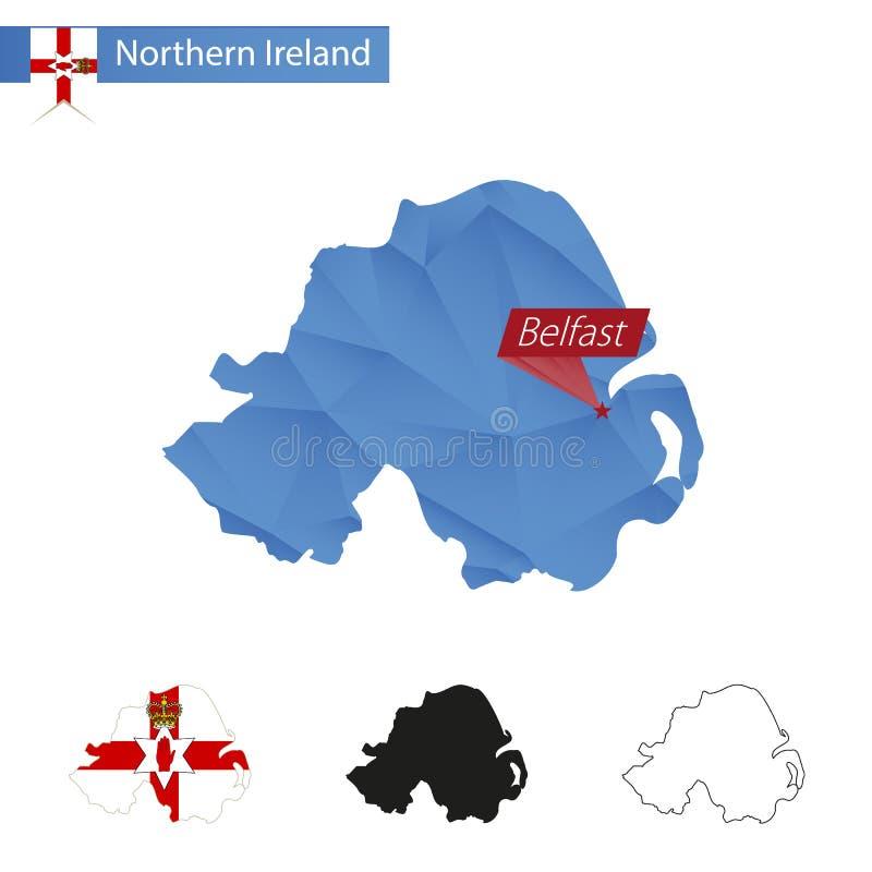 Μπλε χαμηλός πολυ χάρτης της Βόρειας Ιρλανδίας με το κύριο Μπέλφαστ ελεύθερη απεικόνιση δικαιώματος