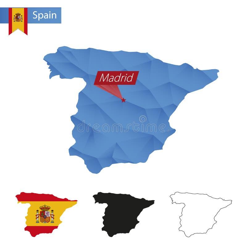Μπλε χαμηλός πολυ χάρτης της Ισπανίας με την κύρια Μαδρίτη ελεύθερη απεικόνιση δικαιώματος