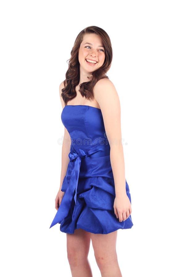μπλε χαμόγελο φορεμάτων στοκ φωτογραφίες