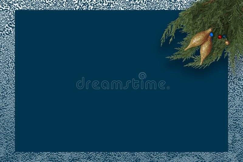 Μπλε χειμερινή ατμόσφαιρα ευχετήριων καρτών Χριστουγέννων ελεύθερη απεικόνιση δικαιώματος
