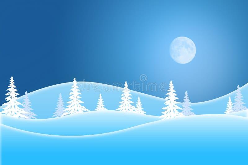 Μπλε χειμερινή σκηνή των χιονισμένων λόφων κάτω από έναν αναμμένο φεγγάρι ουρανό διανυσματική απεικόνιση
