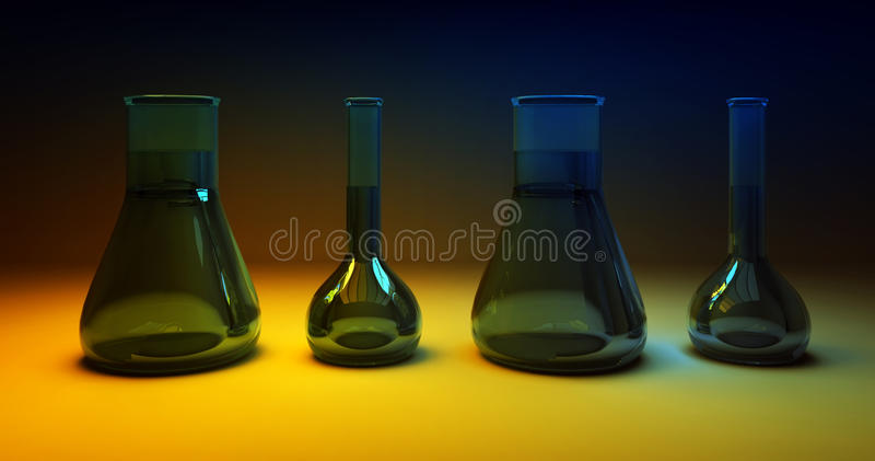 μπλε χημικές σκοτεινές φιάλες ανασκόπησης κίτρινες ελεύθερη απεικόνιση δικαιώματος
